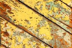Gele geschilderde houten textuur Stock Foto