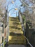 Gele geschilderde stappen die tot postparkeerterrein leiden stock fotografie