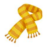 Gele gestreepte wolsjaal De sjaals en de sjaals kiezen pictogram in illustratie van de het symboolvoorraad van de beeldverhaalsti stock foto's