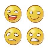 Gele gezichten met emoties Stock Fotografie