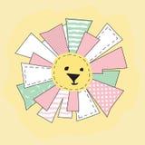 Gele Grappige Zon in Geïsoleerde Lapwerkstijl Stock Afbeelding