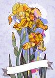 Gele hand getrokken irisbloem Royalty-vrije Stock Foto