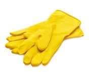 Gele handschoenen royalty-vrije stock afbeelding