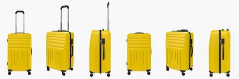 Gele harde die gevalbagage op wit wordt geïsoleerd Stock Afbeelding