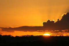 Gele hemel bij nacht Stock Afbeelding