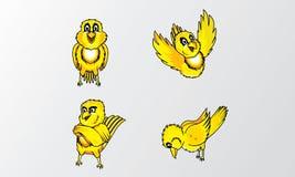 Gele het karakterillustratie van het vogelsbeeldverhaal stock illustratie