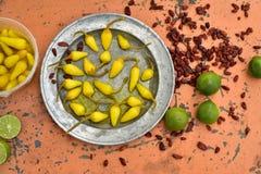 Gele ingelegde Spaanse peperpeper, koele kalk, kruidige droge rode Spaanse peperpeper Royalty-vrije Stock Fotografie