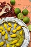 Gele ingelegde Spaanse peperpeper, koele kalk, kruidige droge rode Spaanse peperpeper Royalty-vrije Stock Foto