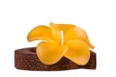 Gele kaars in de vorm van een bloem Royalty-vrije Stock Afbeelding