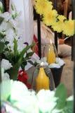 Gele kaarsen Stock Foto's