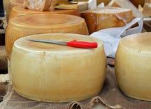 Gele kaas op verkoop van melkboer in een dorpsmarkt Stock Fotografie