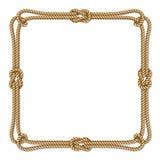 Gele kabel geweven vectorgrens met kabelknopen, vierkant vectorkader Stock Foto's