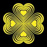 Gele Keltische hartknoop - gestileerd symbool Gemaakt van harten De Klaver van vier Blad Stock Fotografie