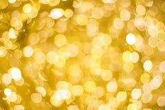 Gele Kerstmislichten als achtergrond Stock Foto's
