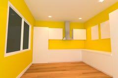 Gele keukenruimte vector illustratie
