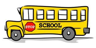 Gele Kinderlijke Tekening Schoolbus Stock Afbeelding