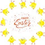 Gele kippen op witte achtergrond en teksten Gelukkige Pasen stock illustratie