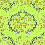 Gele kleine kippen in het naadloze patroon van de wilgenkroon Royalty-vrije Stock Afbeeldingen