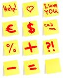 Gele kleine kleverige nota Stock Afbeelding