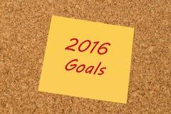 Gele kleverige nota - 2016 Doelstellingen Royalty-vrije Stock Foto's