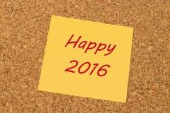 Gele kleverige nota - Gelukkig Nieuwjaar 2016 Stock Fotografie