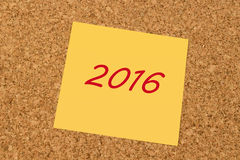 Gele kleverige nota - Nieuwjaar 2016 Royalty-vrije Stock Afbeelding