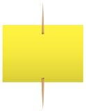 Gele kleverige nota over een tandenstoker Stock Afbeelding