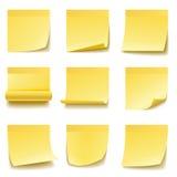 Gele kleverige nota's Stock Afbeelding