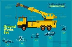Gele Kraan Blauwe infographic reeks, de gemalen voertuigen van de werken blauwe machines Stock Foto's