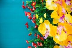 Gele kunstmatige orchidee met groene muur voor achtergrond Royalty-vrije Stock Foto's