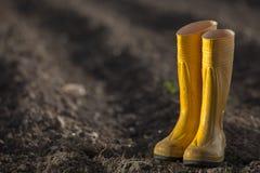 Gele laarzen royalty-vrije stock afbeelding