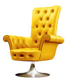 Gele leunstoel met het knippen van 3d weg Royalty-vrije Stock Afbeelding