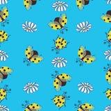 Gele lieveheersbeestje en kamille vector illustratie