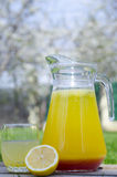 Gele limonade met rode stroop Royalty-vrije Stock Afbeeldingen