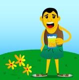 Gele mens die een groot mokhoogtepunt van bier houden royalty-vrije illustratie