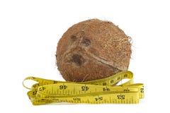 Gele metende band en kokosnoot royalty-vrije stock foto's
