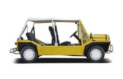 Gele Mini Moke-auto royalty-vrije stock foto's