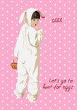 Gele mobiele telefoon Meisje in konijntjeskostuum met mand Royalty-vrije Stock Fotografie