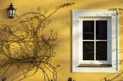 Gele muur met venster Stock Afbeeldingen
