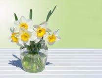 Gele narcissen in een glasvaas Stock Foto's