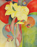 Gele narcissen en vlinderskunst het schilderen op stof Stock Afbeelding