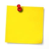 Gele nota met rode punaise Stock Foto