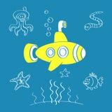 Gele Onderzeeër royalty-vrije illustratie