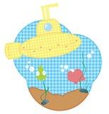 Gele onderzeeër stock illustratie