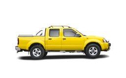 Gele oogstvrachtwagen royalty-vrije stock afbeeldingen