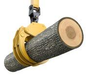 Gele opheffende kraan met het grijpen van klauw die eiken boom houden Royalty-vrije Stock Foto