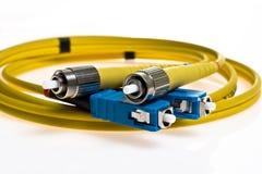 Gele optische kabel Stock Afbeelding