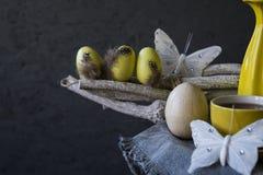 Gele paaseieren, witte vlinders op takje Zwarte Achtergrond, ruimte voor tekst royalty-vrije stock afbeelding