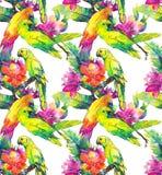Gele papegaaien en exotische bloemen Stock Afbeelding