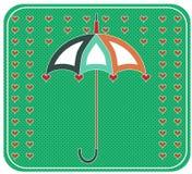 Gele paraplu met rode harten, retro ontwerp, Royalty-vrije Stock Foto's
